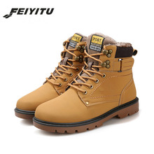 feiyitu  Mens Boots Fashion Super Warm Winter Shoes Outdoor Men Casual Brand Snow Keep Ankle Botas Size