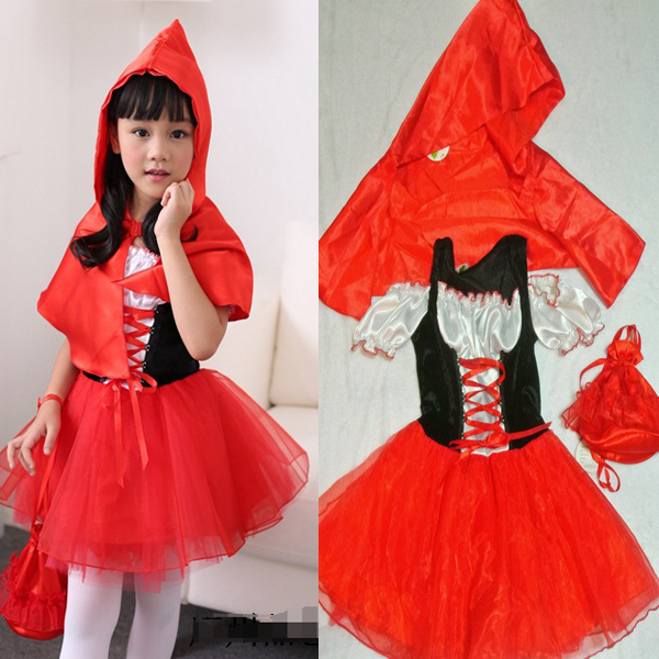 Halloween Cute Little Red Riding Hood costume for girl Kids Party Fancy  Dress Cinderella Princess Party Performances Dress 386e6035b5e7