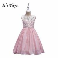 It S YiiYa 7 Colors O Neck Sleeveless Simple Lace Summer Chiffon Button Flowers Kids Princess