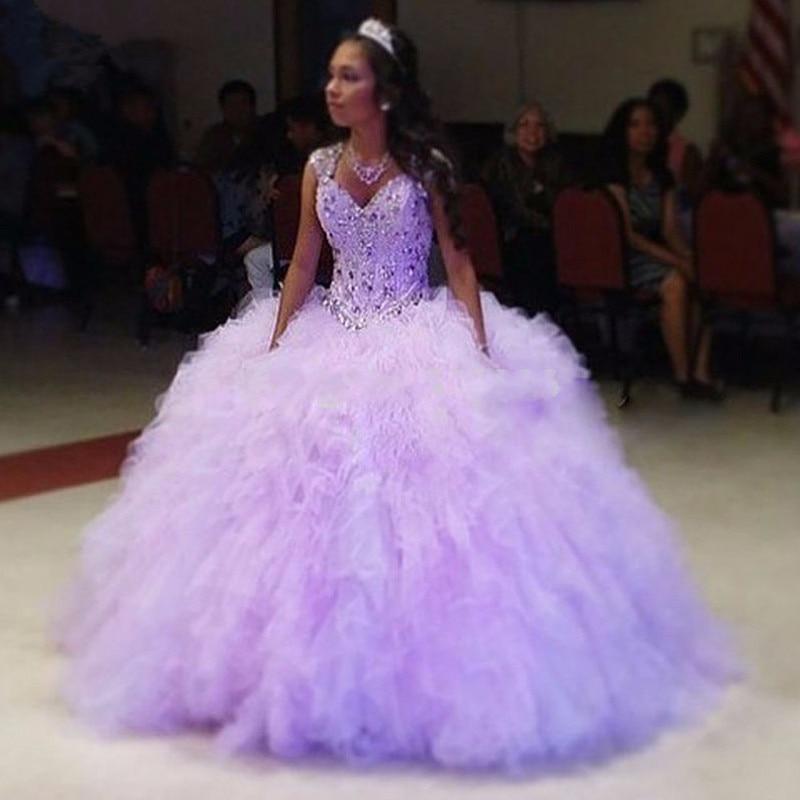 Sexy Sweetheart Beading Quinceanera Dresses Vestidos De 15 Anos Light Purple Organza Quinceanera Ball Gowns