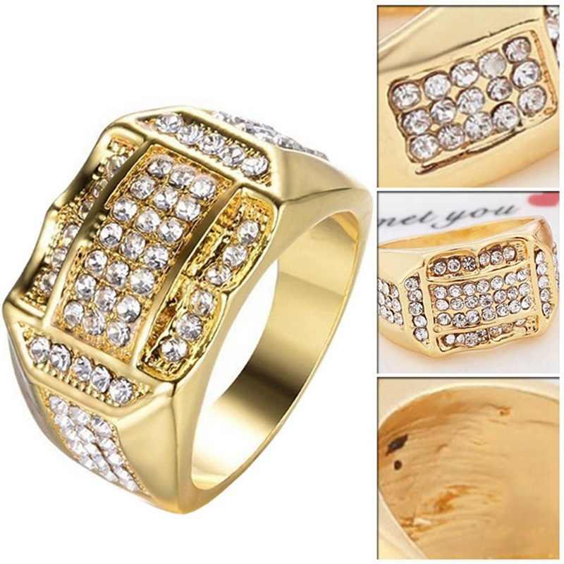 Luxus Gold Gefüllt Titan Ringe Pflastern Strass Iced Out Platz Ring Männer Schmuck Gold Silber Hochzeit Ring