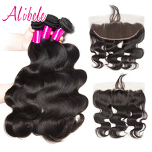 Alibele Brazilian Body Wave Bundles With Frontal Non Remy Brazilian Hair Weave Extension 4/5pcs Human Hair Bundles with Closure(China)