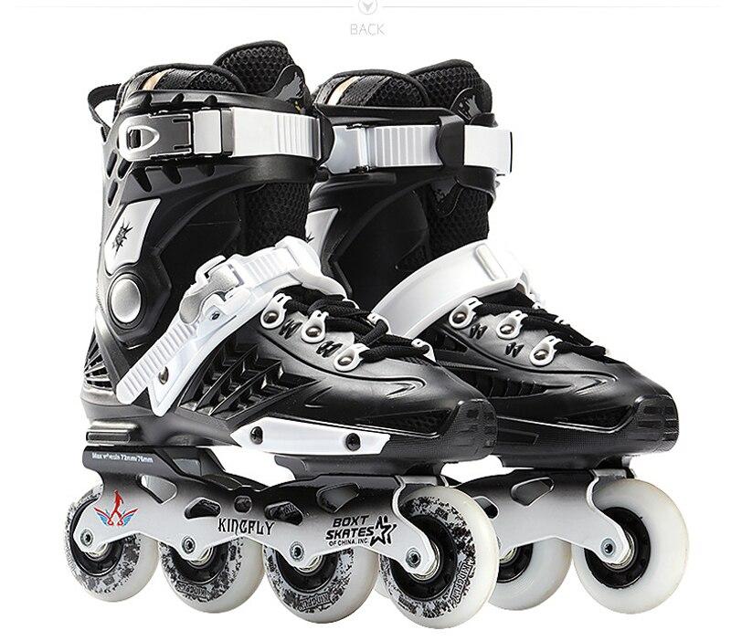 Prix pour Cool Inline Professionnel Adulte Slalom Coulissantes Patins À Glace Chaussures De Patinage Réglable Lavable 85A Flash PU roues Culottes Adulto