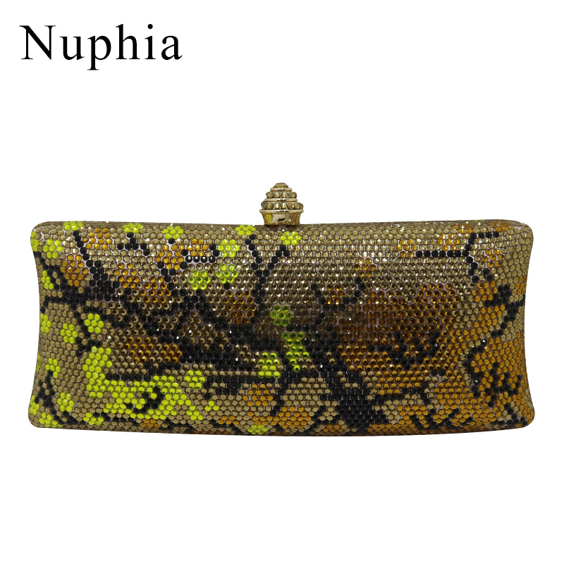 NUPHIA Gold Crystal Clutch and Evening Bags for Women Party Evening Prom