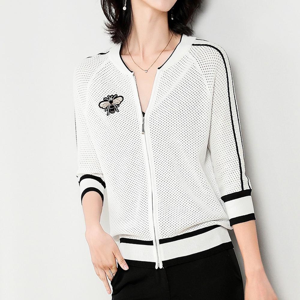 Mode Cardigan femmes Zipper tricot veste manteau Outwear élégant décontracté hauts Baseball uniforme femme noir blanc recadrée veste