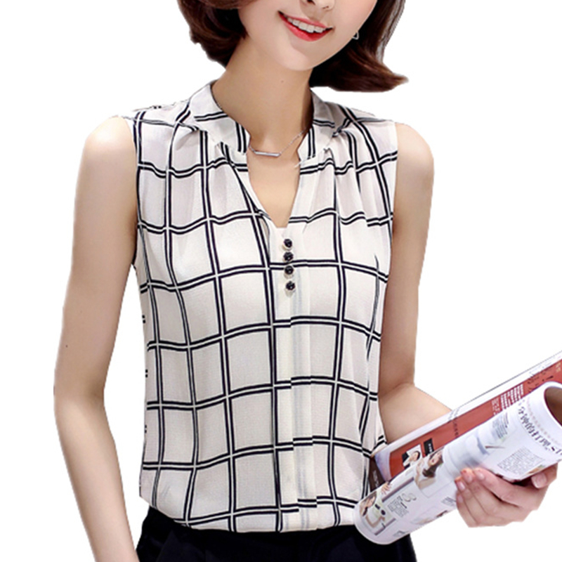 e587fe642cfe31 Chemise Women Blouses Summer Shirts Sleeveless Blouse Hot Plaid Tops Tunic  Chiffon Casual Ladies Plus Size-in Blouses & Shirts from Women's Clothing  on ...
