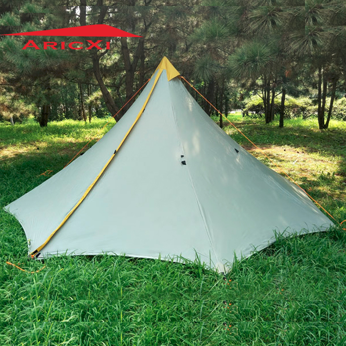 Ultralight Camping Tent 3-4 Person Outdoor 20D Nylon Both Sides Silicon Coating Rodless Pyramid Large Tower Tent 1240g camping tent ultralight 6 8 person outdoor 20d nylon both sides silicon coating rodless large space tent triangle 4 season