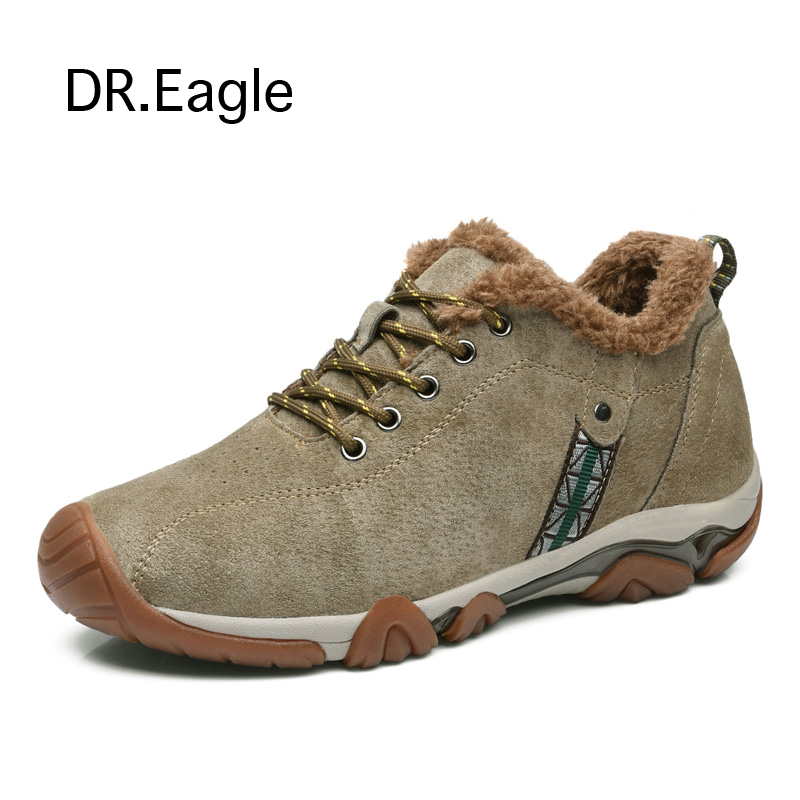 Men's Winter shoes 6cm height Increasing genuine leather outdoor sport hiking shoes waterproof hunting trekking sneakers yin qi shi man winter outdoor shoes hiking camping trip high top hiking boots cow leather durable female plush warm outdoor boot