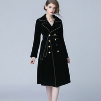 Elegant Solid Color Turn down Collar Women Coats Long Sleeve Sashes Waist Slim Women's Dresses Lady casual Button coats