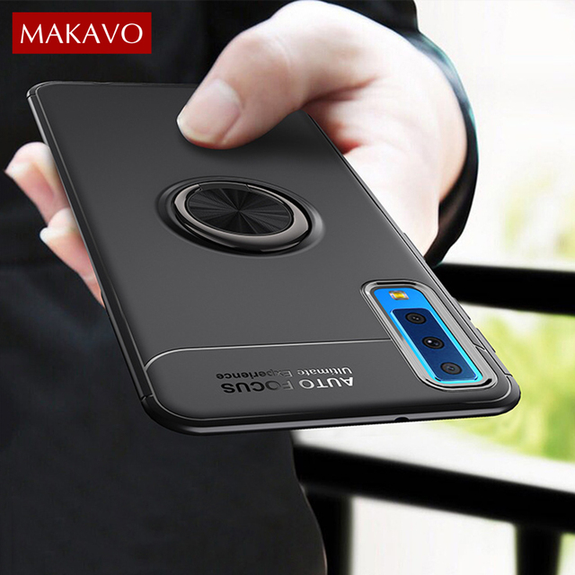 MAKAVO For Samsung Galaxy A7 2018 Case A750 Finger Ring Holder Soft Silicone Back Cover For Samsung A7 2018 SM-A750 Phone Cases
