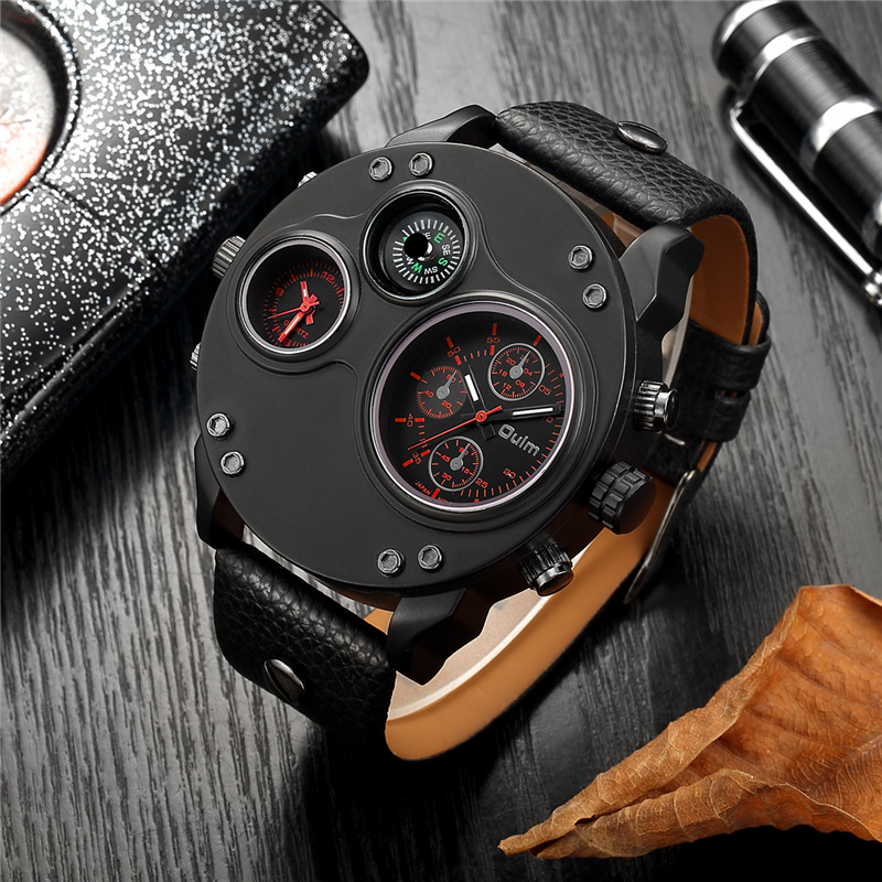 Oulm Unique New Sport Watches For Men Luxury Brand Casual PU Leather Military Watch Male Decorative Compass Quartz Clock Man