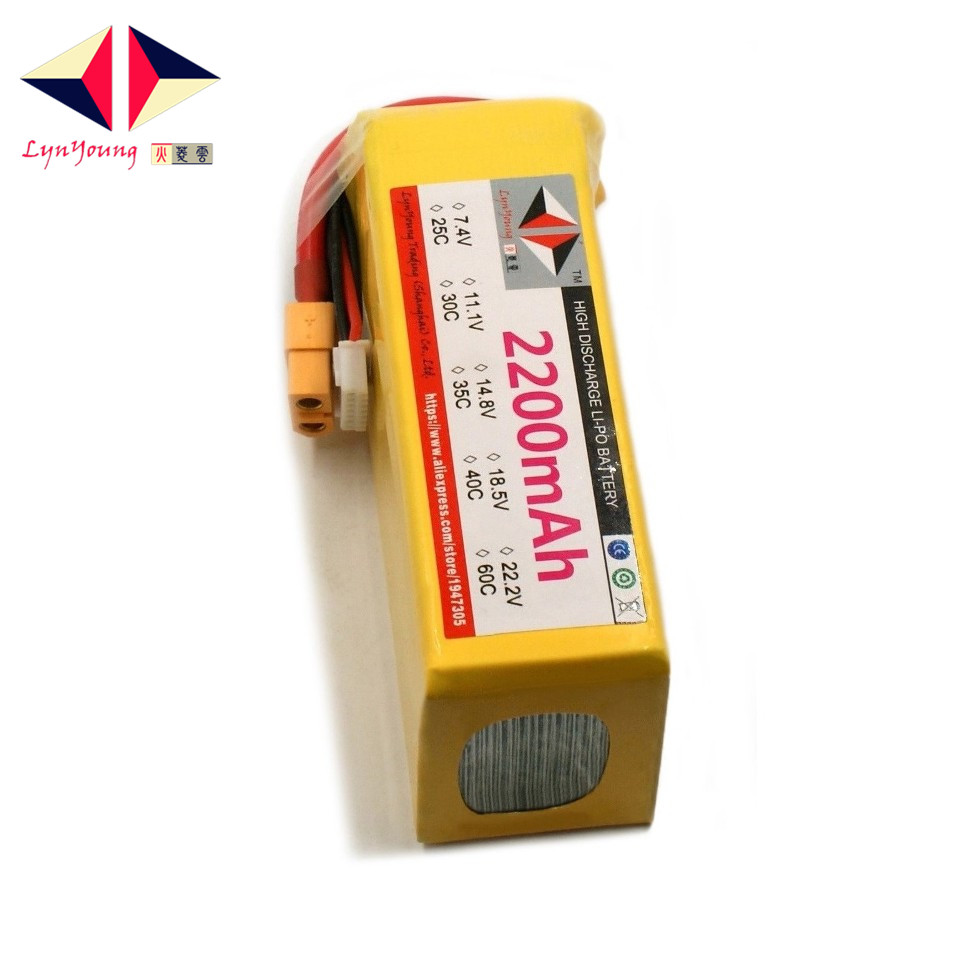 LYNYOUNG <font><b>6s</b></font> <font><b>lipo</b></font> battery 22.2v <font><b>2200mah</b></font> 40c-80C for RC Car Boat Quadcopter drone helicopter image