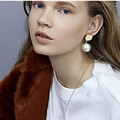 New Style Round Charm Pearl Stud Earrings Big Pearl Earrings Women Korean Fashion Fine Jewelry Ear Studs Gift