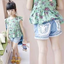 High Quality baby Kids Girls Summer Lace Pocket Shorts Jeans Demin Short Pants