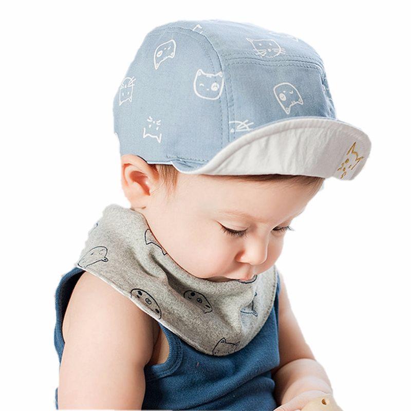 Godier Newborn Baby Cat Pattern Summer Outdoor Cap Beanie Baby Sun Hat Cotton Baseball Caps Blue Pink Spring Autumn Headwear