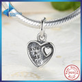 Gift You & Me HEART SILVER DANGLE Romantic Lovely Warm Gift Charm Fit Pandora Bracelet  925 Sterling Silver Beads Free Shipping
