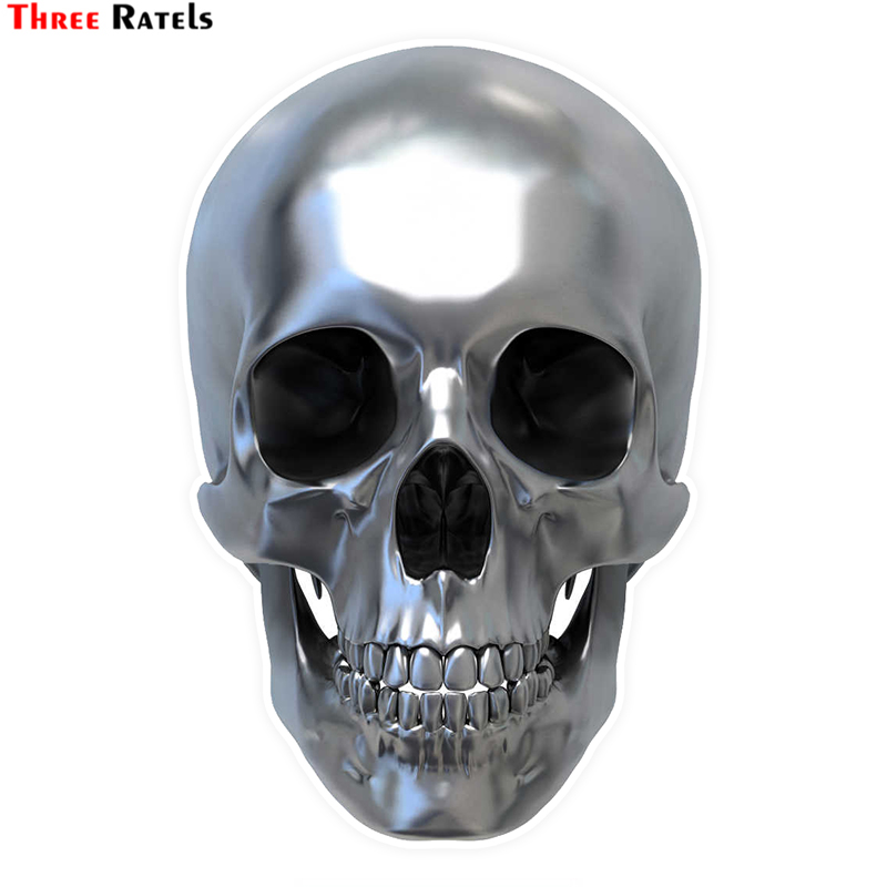 Three Ratels LCS479# 9.2x14cm Bright skull colorful car stickers funny car stickers styling removable decal Стикер
