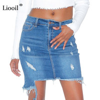 Liooil Sexy Hole Denim Skirts Spring Summer Mid Waist Ripped Tassel Bodycon Mini Jeans Skirt Pockets