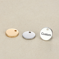 MYLONGINGCHARM 50pcs/lot 10mm Stainless Steel Engravable Charms Customized Charm with your logo words Round Circle Necklace Tag