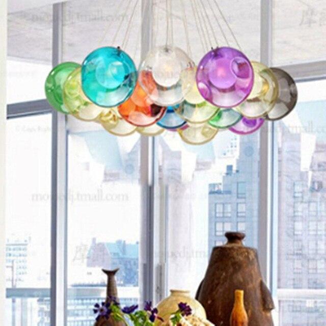 Creative DIY Candy Colors Crystal Glass Pendant Light For Dining Room Restaurant Bar Decor Led G4