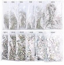 Super Glitter ss2,ss3-ss50 Crystal AB Flat Back Non HotFix Nail art Rhinestone 3D Glass
