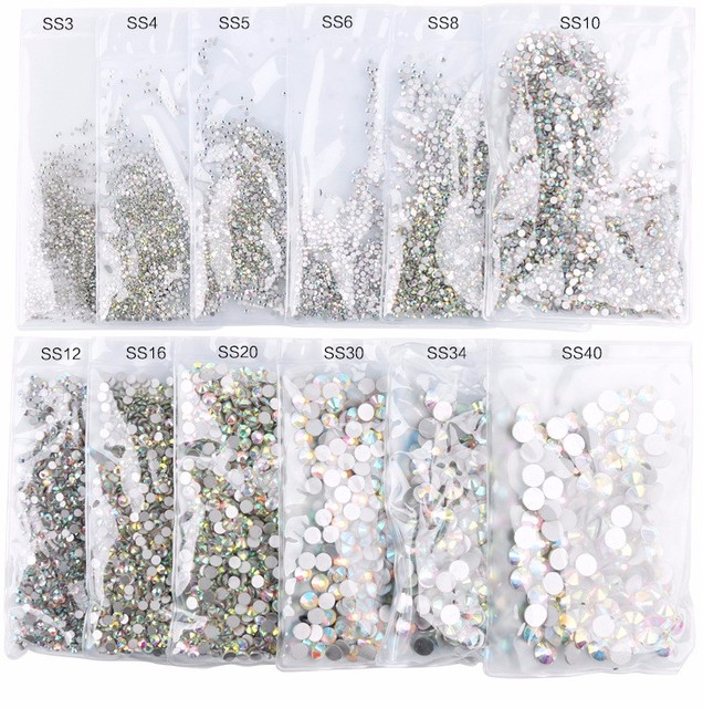 Super Glitter ss3-ss50 Crystal AB Flat Back Non HotFix Nail art Rhinestone 3D Glass Nail Art Decorations Gems mix sizes