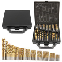 Milda Iron Box Packing 99PCS HSS Twist Drill Bits Set 1 5 10mm Titanium Coated Surface