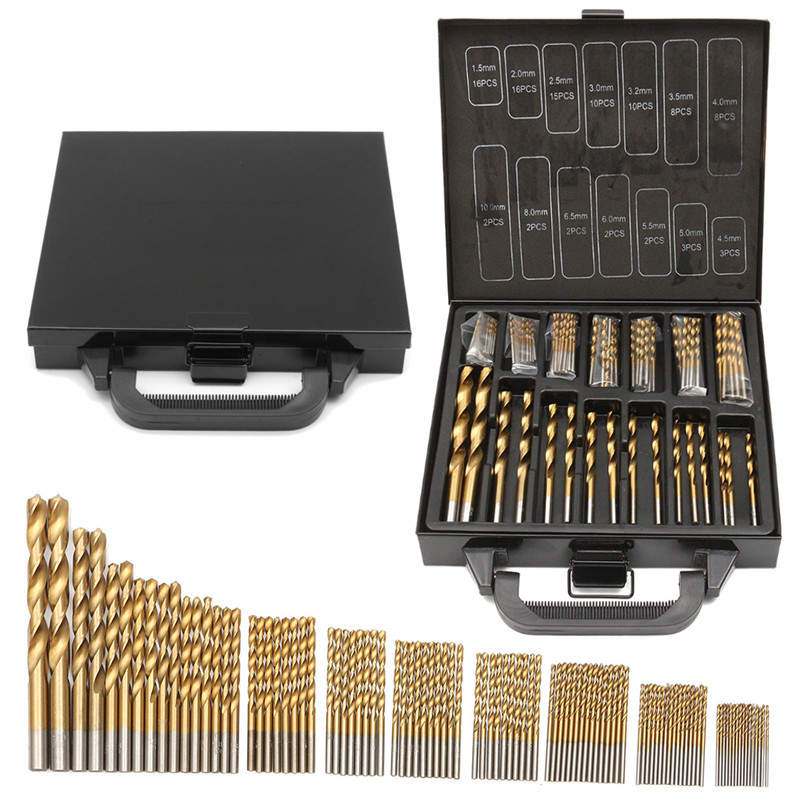 Milda Iron Box packing 99PCS HSS Twist Drill Bits Set 1.5-10mm Titanium Coated Surface 118 Degree For Drilling Metal цена