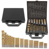 Milda Iron Box packing 99PCS HSS Twist Drill Bits Set 1.5-10mm Titanium Coated Surface 118 Degree For Drilling woodworking
