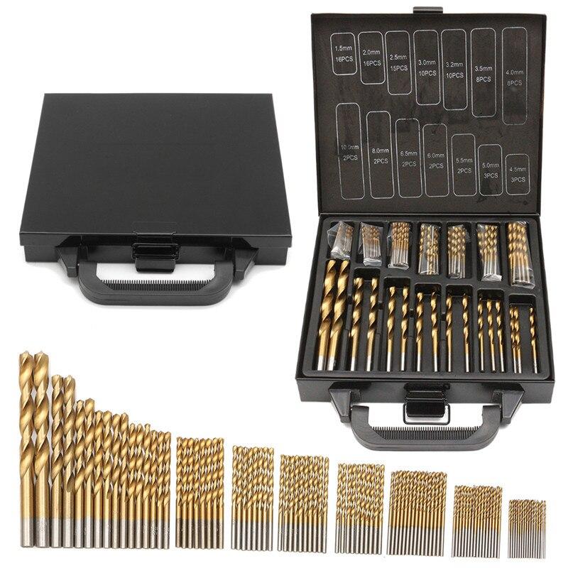 Milda de hierro caja de embalaje 99 piezas HSS Twist Drill Bits 1,5-10mm recubierto de titanio de superficie de 118 grados para la perforación de madera