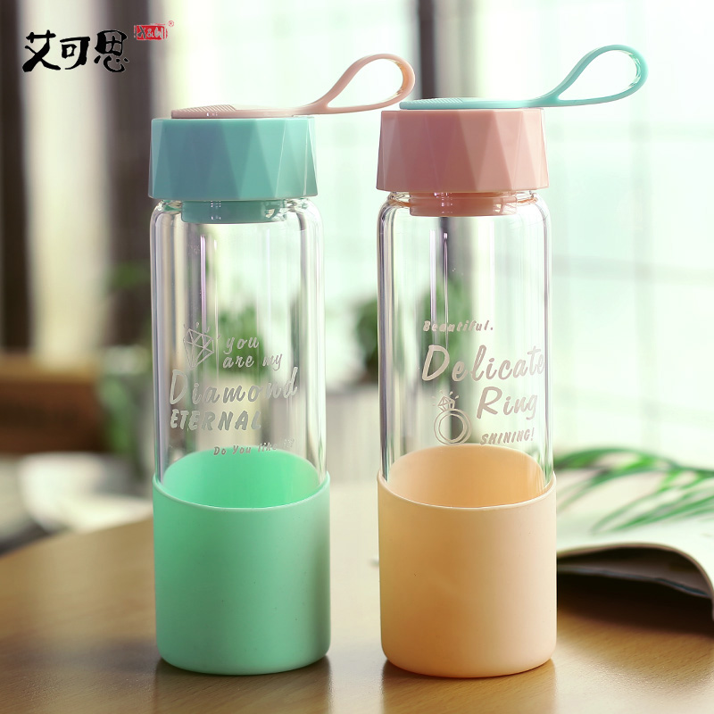X&W 500ML Wine Large Glass Water Bottle Silicone Ring Drinking Jar For Beer Leak Proof Brief Home Office Hiking Tumbler Glazen