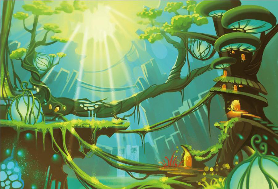 Laeacco Fairy Tale Jungle Trees House Baby Children