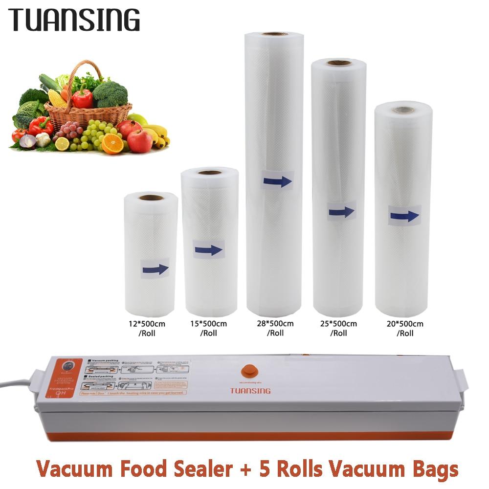 TUANSING Vide Alimentaire Scellant avec 5 Rouleaux Vide Scellant Sacs