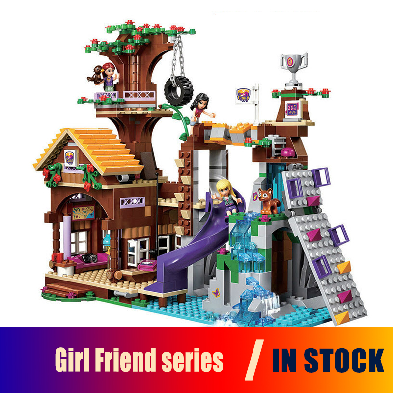 BELA 10497 Building Bricks Compatible with Lego Friends Blocks Adventure Camp Tree House 41122 Emma Mia Figure Toy For Children friends city park cafe building blocks toy set diy educational toys figure bricks toys compatible bela 10162 lepins friends 3061