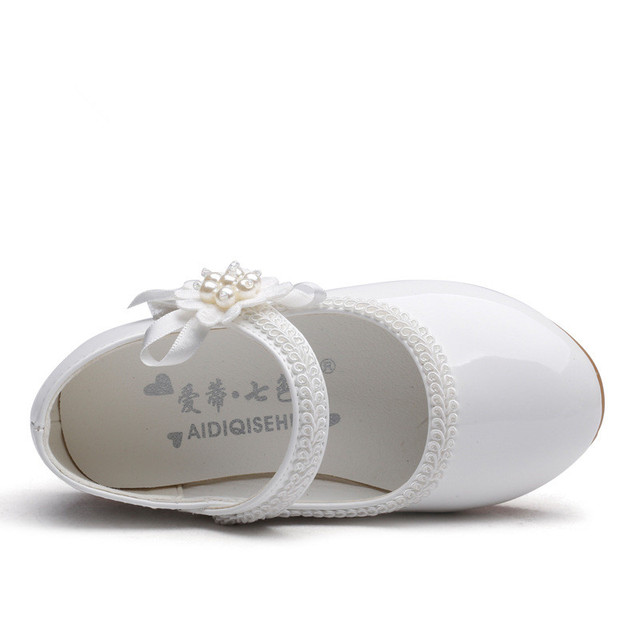 1 2 3 4 5 6 7T New Baby Girls Leather Shoes Flower Kids Shoes Princess Cocktail Party Shoes For Baby Girls Wedding Dress Shoes