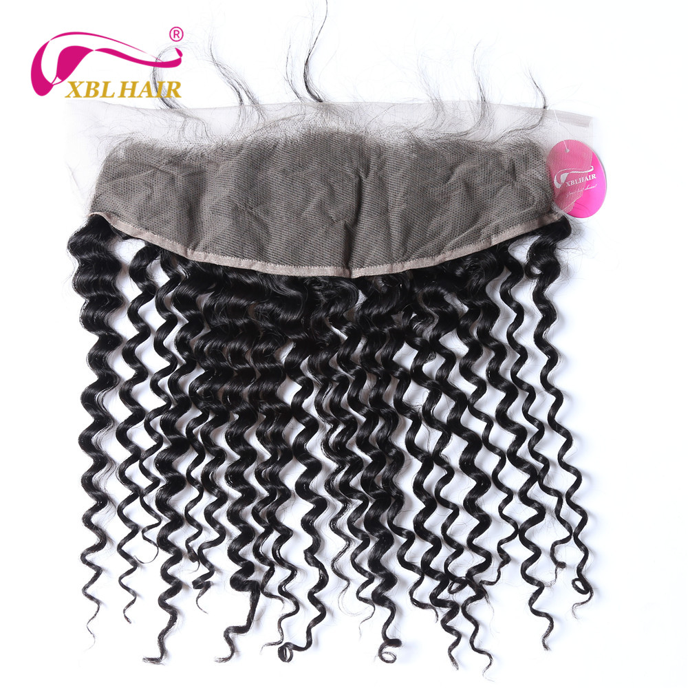 XBLHAIR Deep Wave Lace Frontal Closure Ear To Ear With Baby Hair Brazilian Remy Human Hair Natural Color Free Shipping