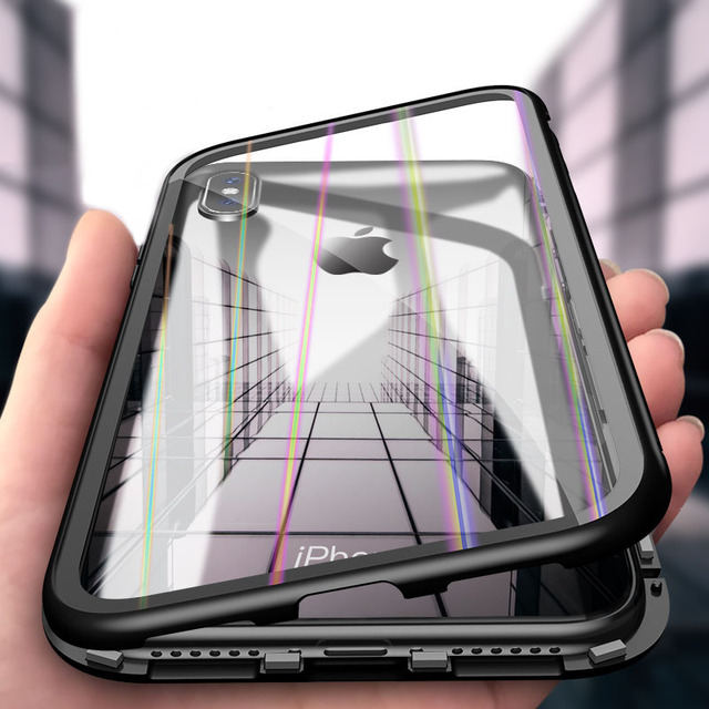 e230409049a Cleiree 360 Magnetic Adsorption Case for iPhone X XS MAX XR 7 8 Plus  Tempered Glass Back Cover for iPhone 6 6s Plus X Hard case