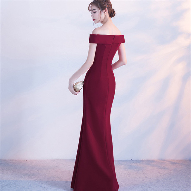 Off Shoulder Burgundy Evening Dress Girls Wedding Party Dress Prom Gown Dubai Long Zipper Bridal Dresses slit Robe De Soiree 1