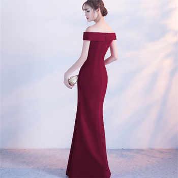 Beauty-Emily Off Shoulder Sexy Evening Dresses Long 2020 for Women Split Formal Party Dress Prom Gown Zipper Back Robe De Soiree