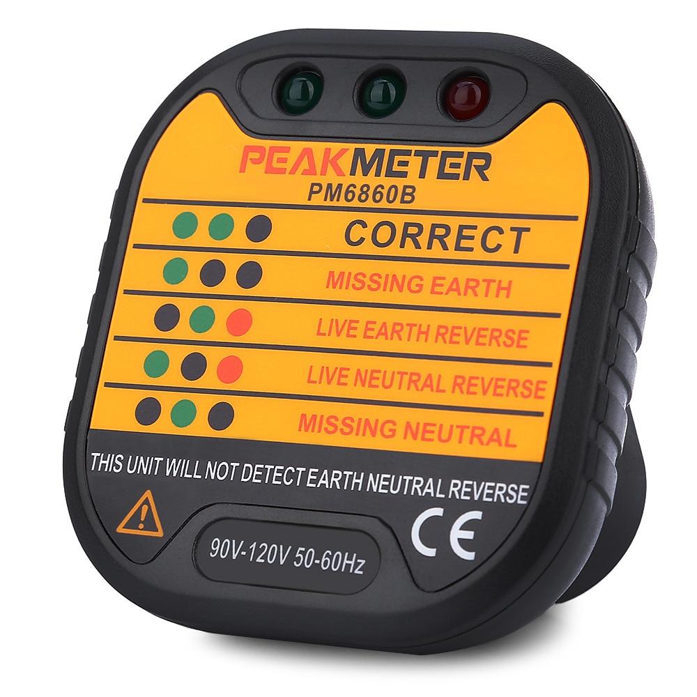 PEAKMETER PM6860B 90V - 120V US Plug Socket Tester Electrical Circuit Breaker Finders Portable Voltage Detector For Ensure Line