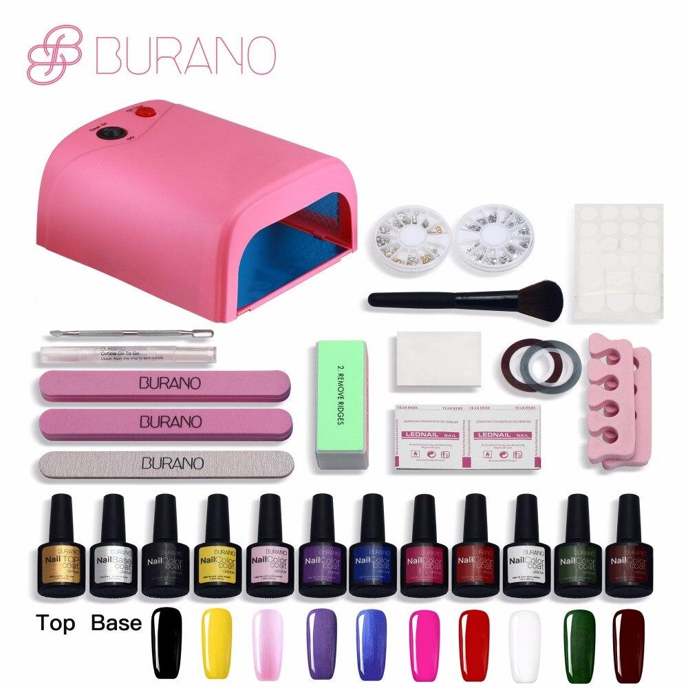 BURANO nail kit set for manicure 10 gel varnish polish 36 w uv lamp nail buff all for nails uv color gel set