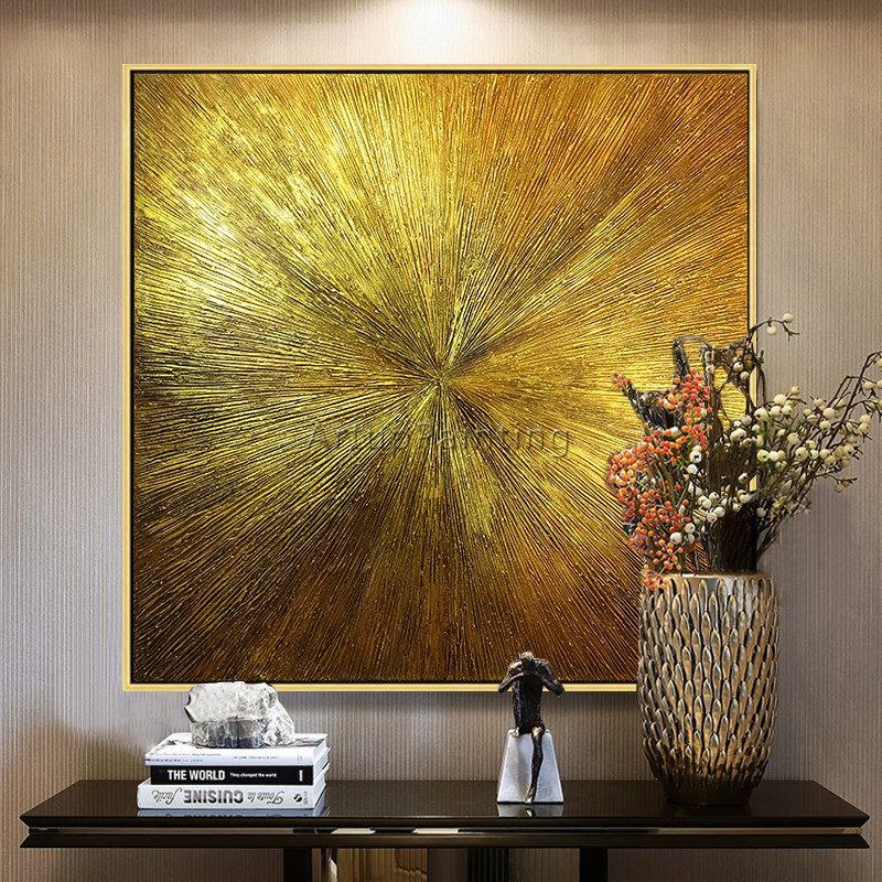 Geometric Gold art abstract painting on canvas acrylic texture wall art pictures for living room home quadros caudros decoracion end table