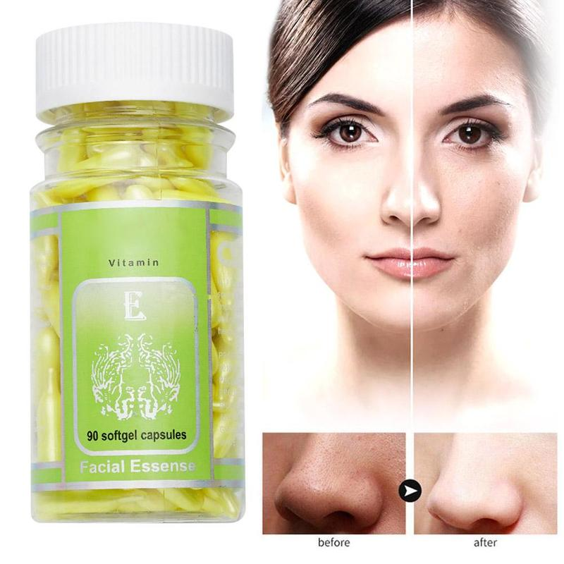 90pcs/bottle Vitamin E Capsules Serum Scars And Wrinkles Eliminating Whitening Cream Facial Freckle Capsule