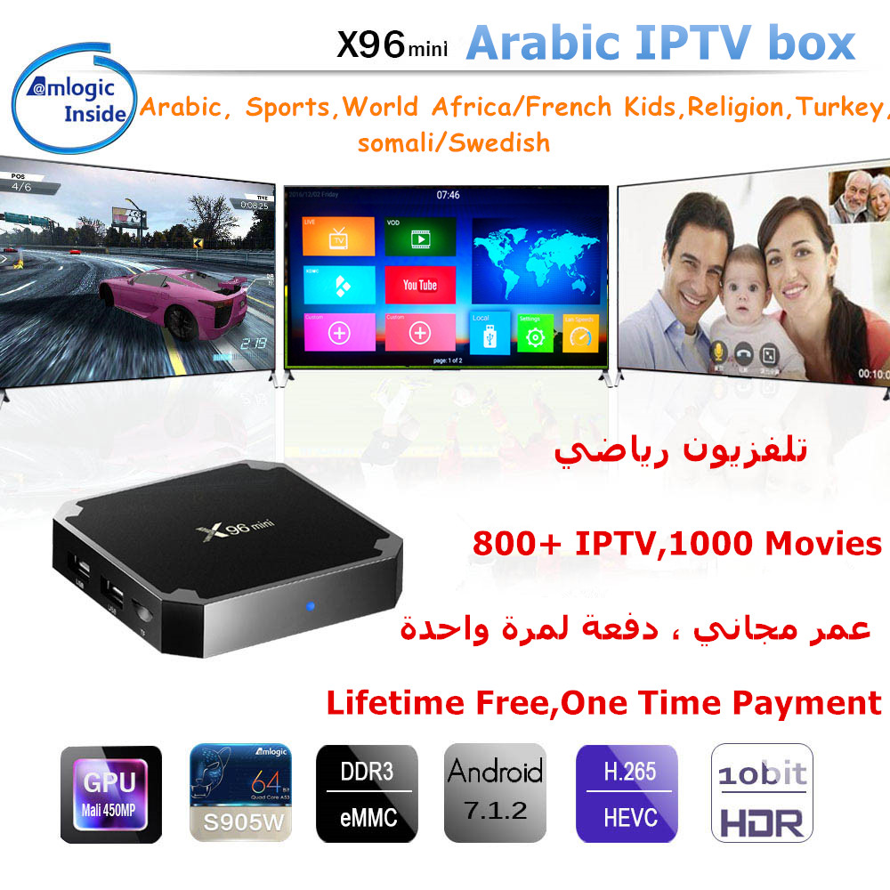 X96Mini Android IP TV box OS 7.1 4kArabic IPTV Box Lifetime Free Subscription 800PlusTV with Swedish TV Africa French Somail ect-in Set-top Boxes from Consumer Electronics    2