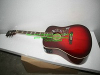 New Arrival Wine red Acoustic electric guitar with high quality Free Shipping