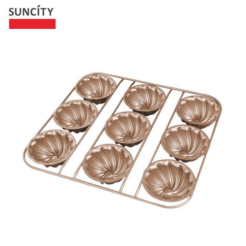 9 gota Tart Pan Metal Nonstick Lule Muffin Shporta Mishi i Kupës së - Kuzhinë, ngrënie dhe bar - Foto 4