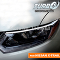 Para 2014 2015 2016 2017 NISSAN X-TRAIL Xtrail 2 UNIDS Coche Cromo ABS Faros Ceja Cubierta de Pegatinas de Decoración Exterior
