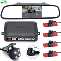 "3in1 16MM Flat Sensors Car Video Parking Sensor With Rear View Camera Display Distance On 4.3"" Rearview Mirror Monitor"