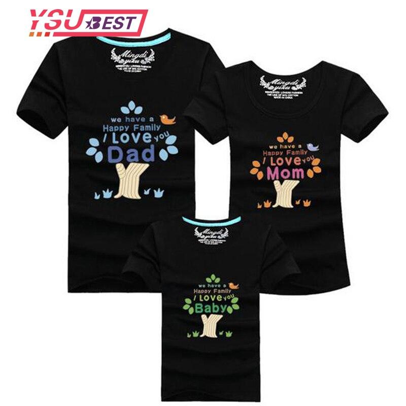 Nueva mamá papá bebé la feliz familia impreso familia juego trajes ropa de  algodón de verano 1d68f8822755f