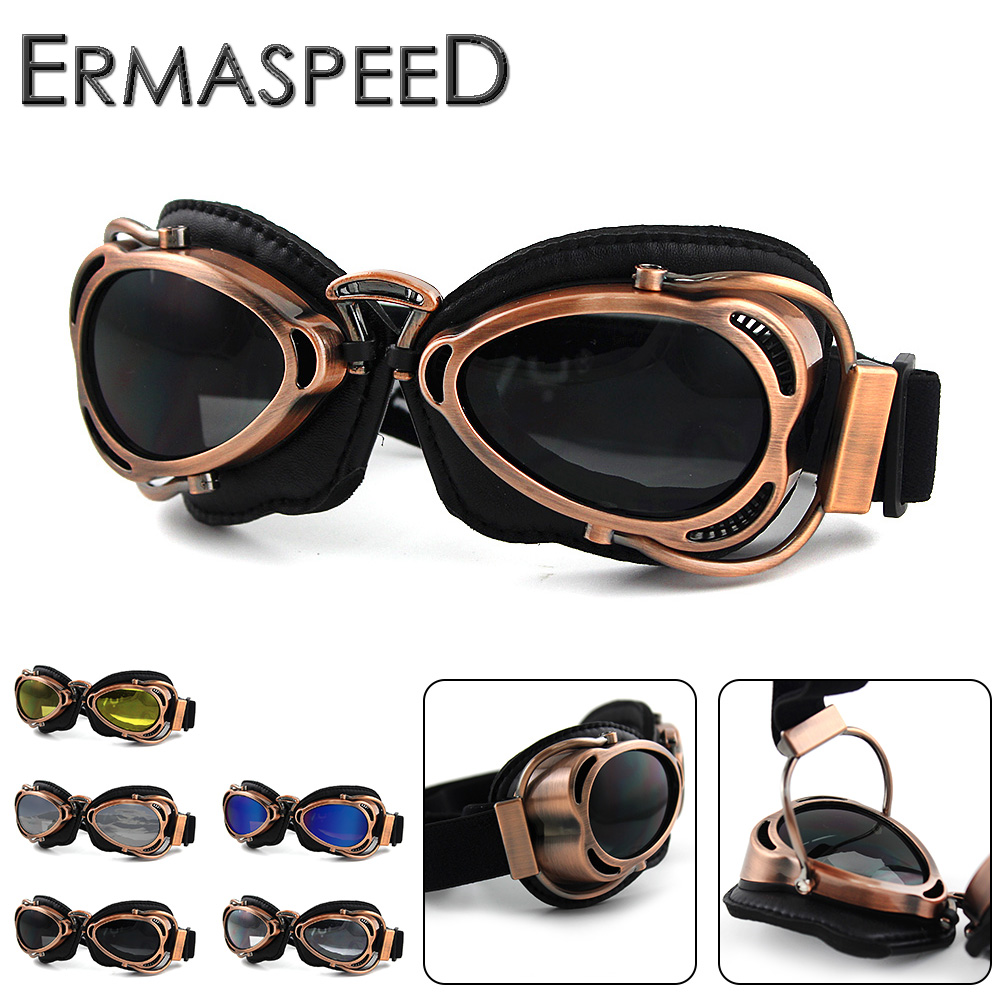 Motorcycle Glasses Pilot Aviator Helmet Goggles Retro Vintage PU Leather Riding Eye Wear Copper for Harley Cruiser Cafe Racer все цены